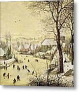 Winter Landscape With Skaters And A Bird Trap Metal Print
