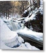 Winter Meltdown Rushing Over Conestoga Falls Metal Print by Gene Walls