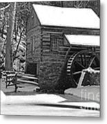 Winter Mill In Black And White Metal Print