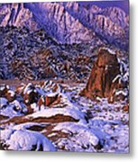 Winter Morning Alabama Hills And Eastern Sierras Metal Print
