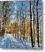 Winter Morning In The Forest Metal Print