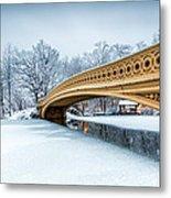 Winter Morning With Bow Bridge Metal Print