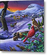 Winter Mountain Landscape - Cardinals On Holly Bush - Small Town - Sleigh Ride - Square Format Metal Print