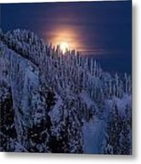 Winter Mountain Moonrise Metal Print