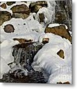 Winter Mountain Stream Metal Print
