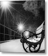 Winter Night Along The River Metal Print