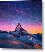 Winter Night High Peak Metal Print