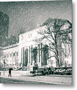 Winter Night In New York City - Snow Falls Onto 5th Avenue Metal Print