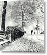 Winter Night - Snow - Madison Square Park - New York City Metal Print