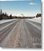 Winter On Country Road In Taiga And Snowy Mountain Metal Print