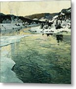 Winter On The Mesna River Near Lillehammer Metal Print by Fritz Thaulow