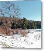 Winter On The Moose River - Old Forge New York Metal Print