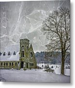 Winter on the Old Stone Church Metal Print