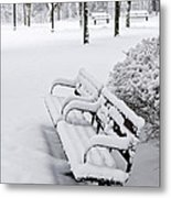 Winter Park With Benches Metal Print
