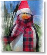 Winter Penguin Photo Art Metal Print