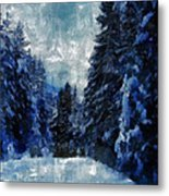 Winter Piny Forest Metal Print
