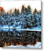 Winter Pond At Shady Grove		 Metal Print by Judy Duncan