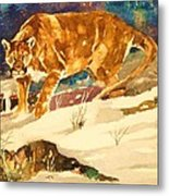 Cougar On The Prowl In Winerer Metal Print
