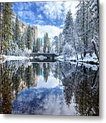 Winter Reflection At Yosemite Metal Print