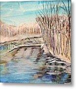 Winter River Scene Metal Print