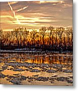Winter River Sunrise Metal Print