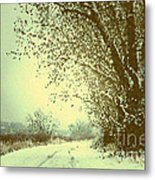 Winter Road Abstract  Metal Print