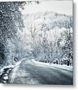 Winter Road In Forest Metal Print