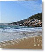 Winter Sand Beach Acadia Metal Print