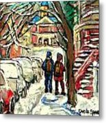 Winter Scene Painting Rows Of Snow Covered Cars First School Day After Christmas Break Montreal Art Metal Print