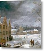 Winter Scene With A Man Killing A Pig Metal Print