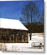 Winter Scenic Farm Metal Print