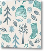 Winter Seamless Pattern With Knitted Metal Print