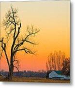 Winter Season Country Sunset Metal Print
