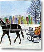Winter Sleigh Ride Metal Print