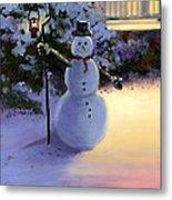 Winter Snow Man Metal Print by Cecilia Brendel