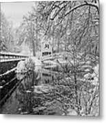Winter Snow Storm In Somesville Maine Metal Print
