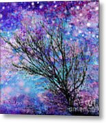Winter Starry Night Square Metal Print