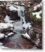 Winter Still Has Its Icy Grip On Adams Falls Metal Print