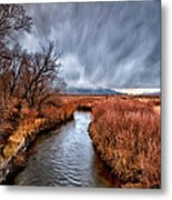 Winter Storm Over Owens River Metal Print by Cat Connor