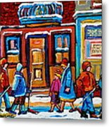 Winter Street In Saint Henri Metal Print