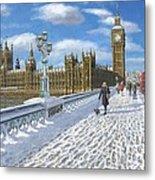 Winter Sun - Houses Of Parliament London Metal Print