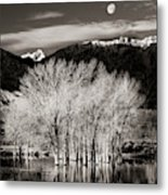 Winter Sunrise And Moonset Metal Print