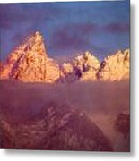 1m9333-winter Sunrise On Teton Range Metal Print