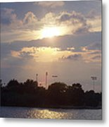 Winter Sunset In Freeport Ny Metal Print by John Telfer