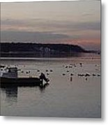 Winter Sunset On The Harbor Metal Print
