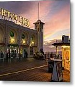 Winter Sunset Over Brighton Pier In England Metal Print