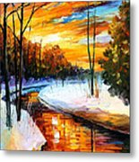 Winter Sunset - Palette Knife Oil Painting On Canvas By Leonid Afremov Metal Print