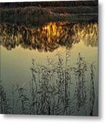 Winter Sunset Reflection Metal Print