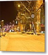Winter Time Street Scene In Krizevci Metal Print