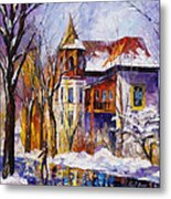 Winter Town - Palette Knife Oil Painting On Canvas By Leonid Afremov Metal Print